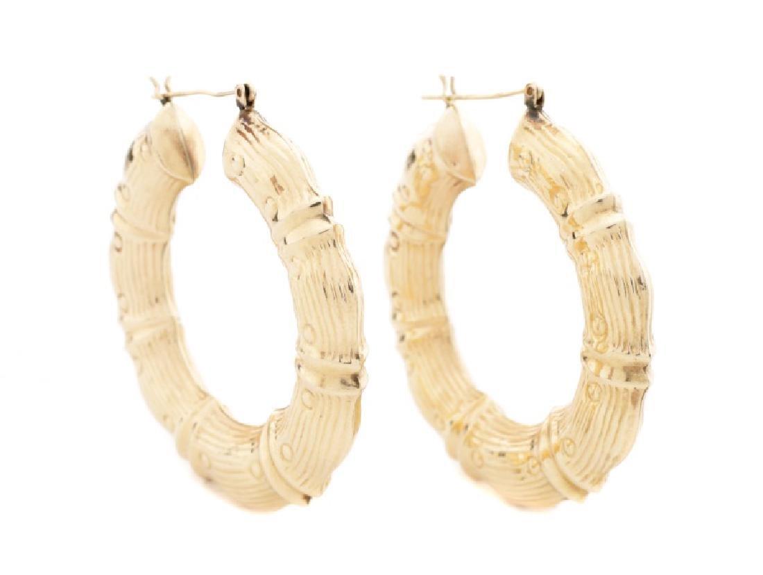 Pair, Large 14k Yellow Gold Bamboo Motif Earrings