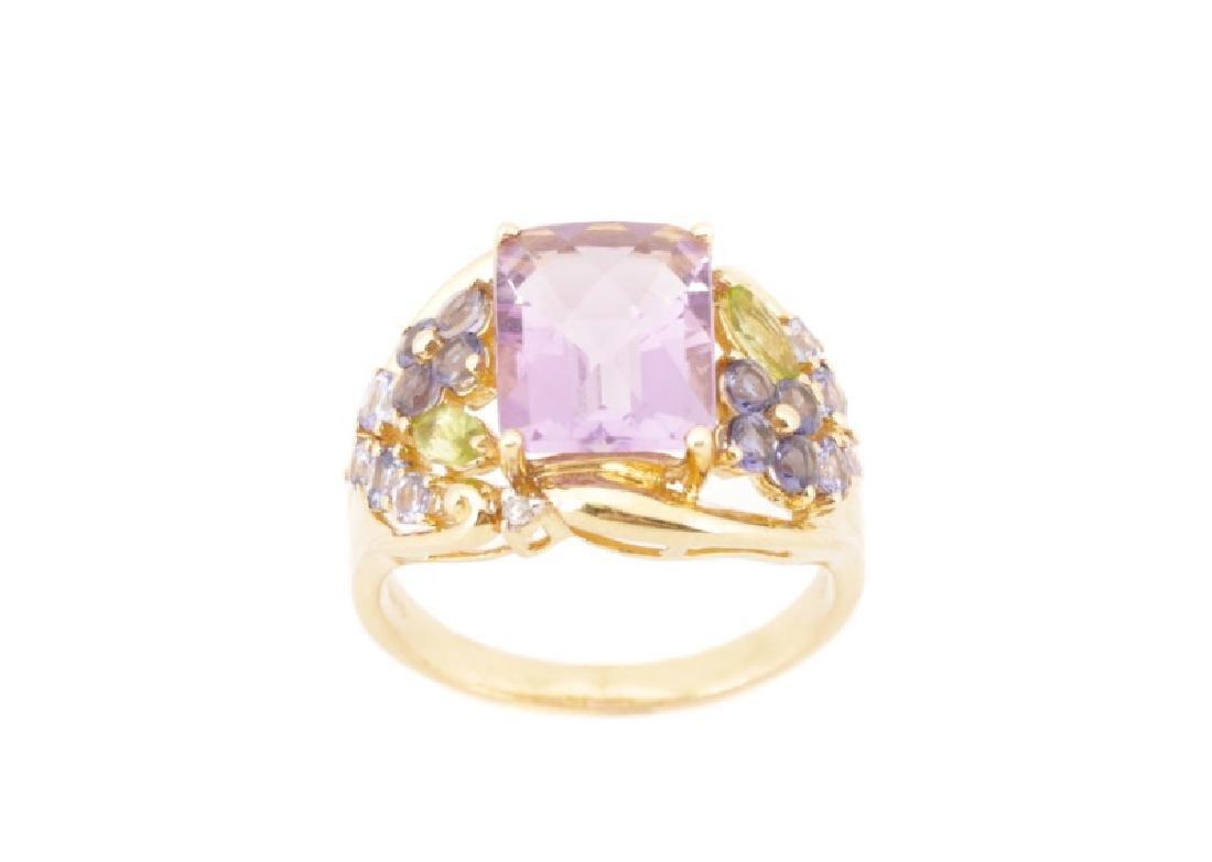 14k Yellow Gold Multi-Gemstone Fashion Ring
