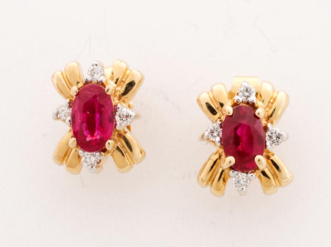 14k Yellow Gold Ruby & Diamond Stud Earrings