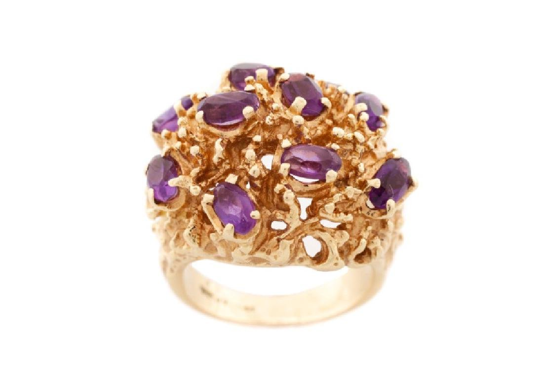 14k Yellow Gold & Amethyst Nugget Ring