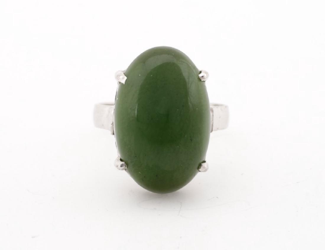 Handmade 800 Silver & Green Chrysoprase Ring