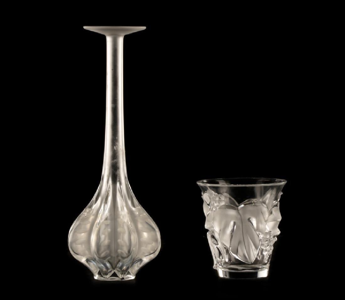 """2 Pcs Lalique Crystal, """"Saumur"""" Vase & Claude Vase"""