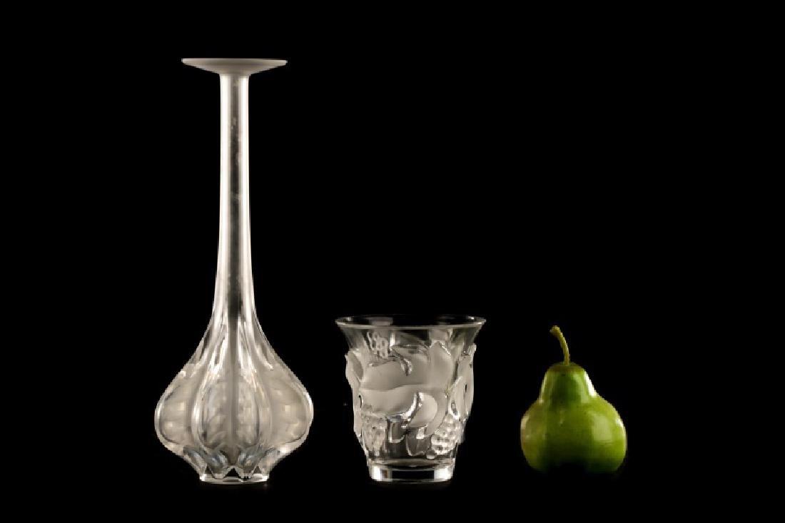 """2 Pcs Lalique Crystal, """"Saumur"""" Vase & Claude Vase - 8"""