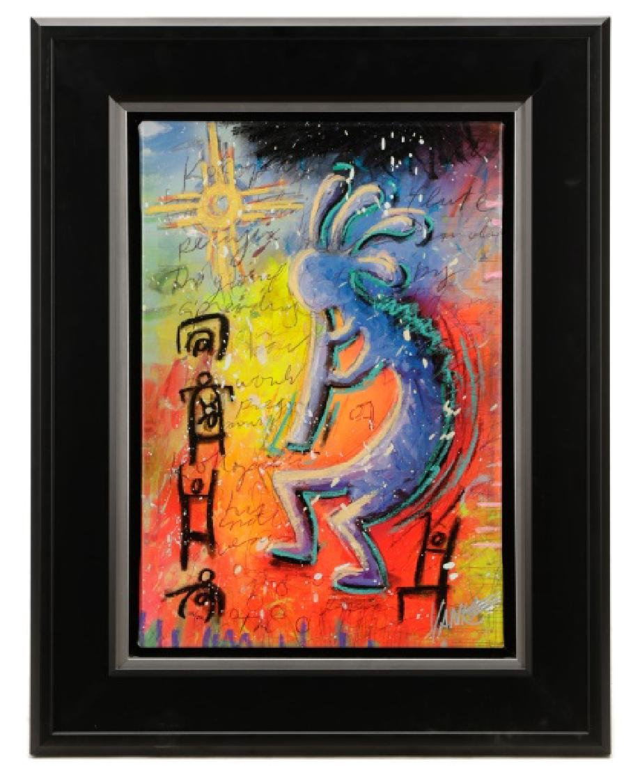 "Tim Yanke ""Kokopeli"", Embellished Giclee on Canvas"