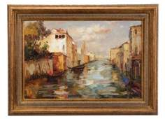 Venetian Canal Scene Oil on Canvas Signed