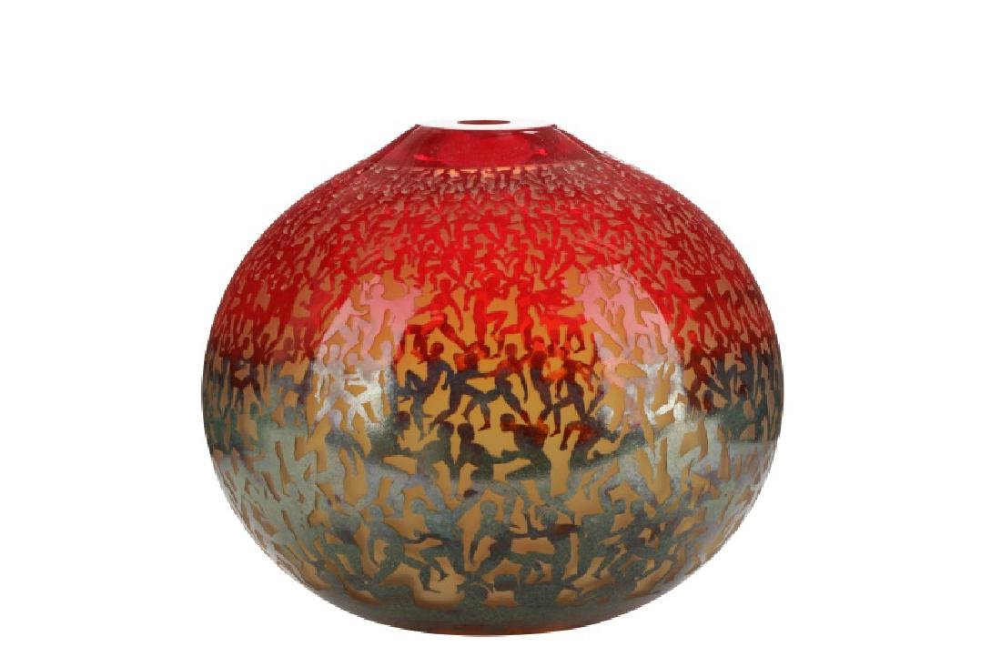 Art Glass Running Figures Vase, Duncan McClellan