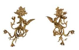 Pair, Art Nouveau Figural Day & Night Sconces