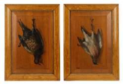 2 Trompe L'Oeil Hanging Pheasant Paintings