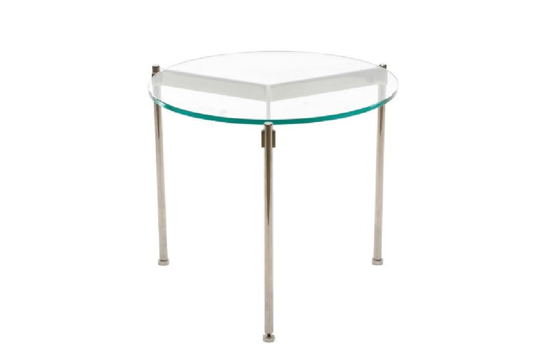 Ward Bennett Chromed Metal & Glass Side Table