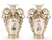 Pair of Old Paris Style Porcelain Handled Vases