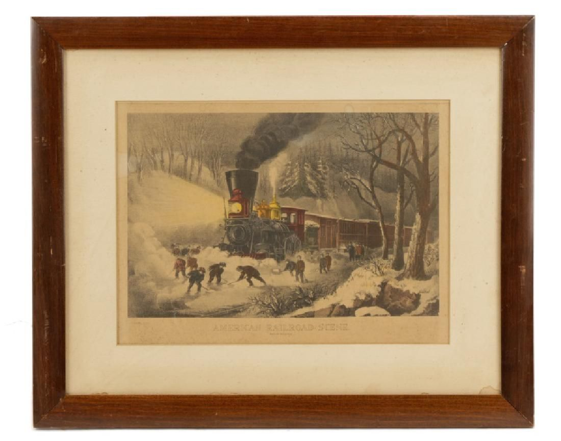"""Currier & Ives, """"American Railroad Scene"""", Litho"""
