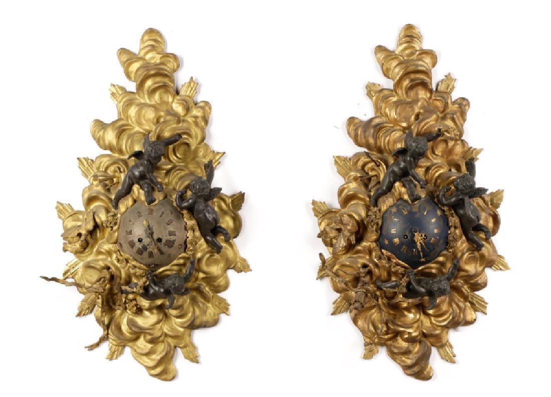Pair, French Empire Gilt Bronze Cartel Clocks