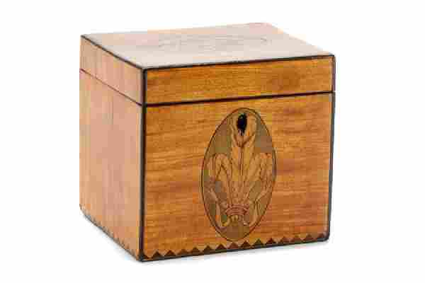 Small George III Marquetry Inlaid Tea Caddy