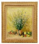 """Andre Vignoles """"Chicorees Sauvages et Fruits"""", Oil"""