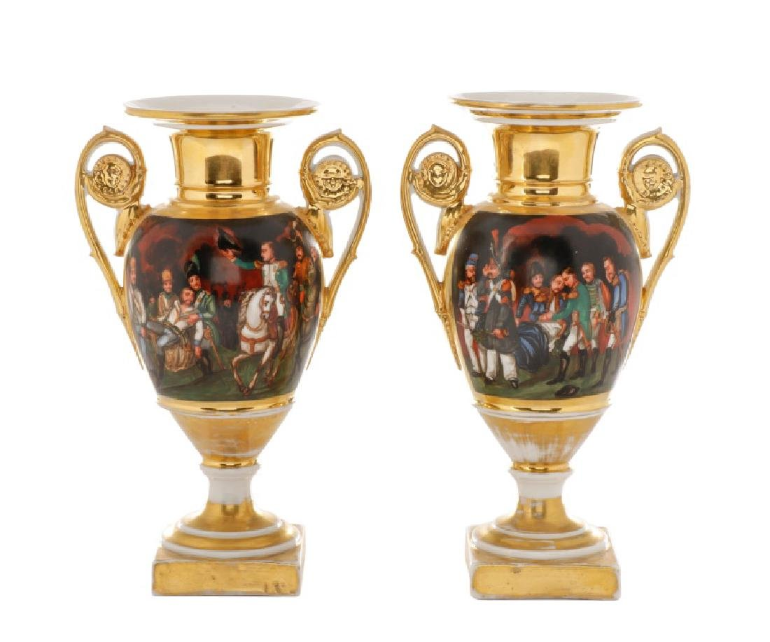 Pair of French Porcelain Napoleonic Vases, 19th C