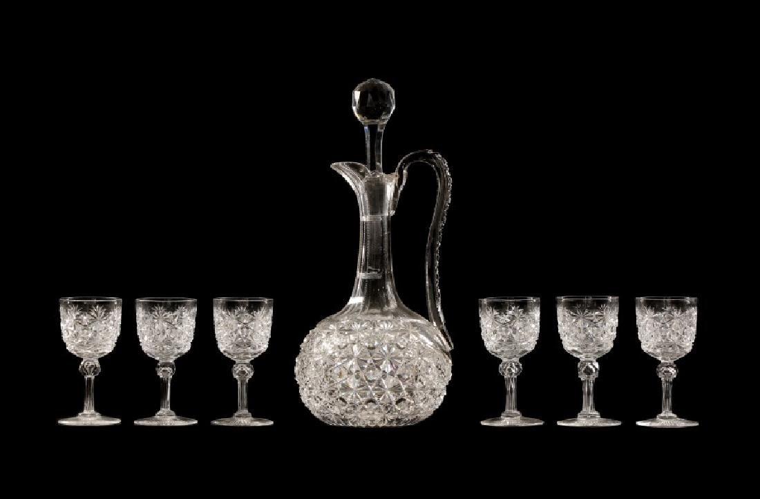 American Brilliant Cut Glass Russian Decanter Set
