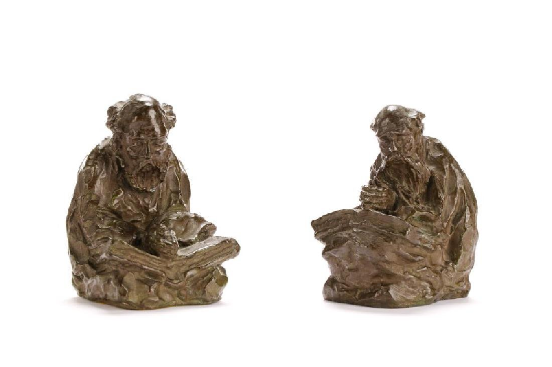Pair of Charles A. Needham Bronze Figural Bookends