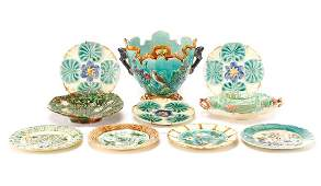 Collection of 10 Pieces of Majolica Pottery