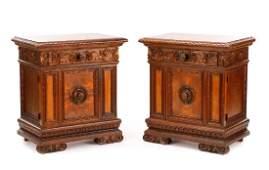 Pair of Renaissance Revival Walnut Side Tables