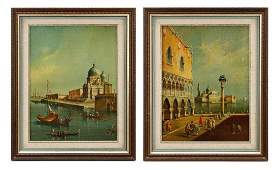 """Continental School, """"Two Views of St. Mark's"""", Oil"""
