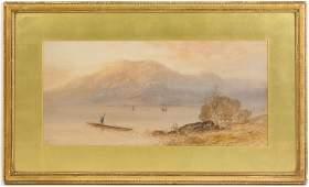 William Henry Earp Watercolor Landscape w/ Boater