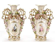 Pair of Old Paris Style Porcelain Handled Vases
