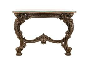 Cast Iron Rococo Revival Console With Marble Top