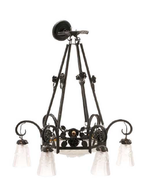 French art deco iron glass chandelier degue aloadofball Choice Image