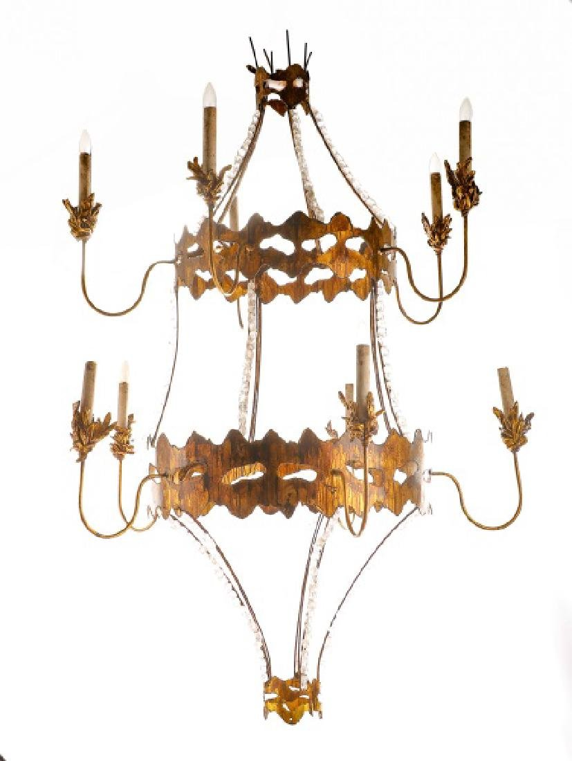Torch Cut Metal & Rock Crystal Chandelier