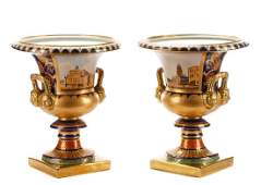 Palatial Pair Sevres Style Porcelain Scenic Urns