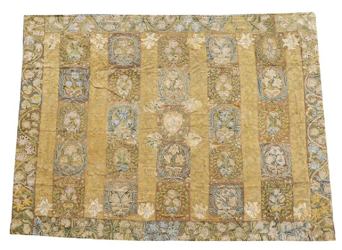 Rare Tapestry-Woven Table Carpet, Wool & Silk