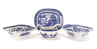 Group of 4 Blue Willow Transferware Serving Pieces