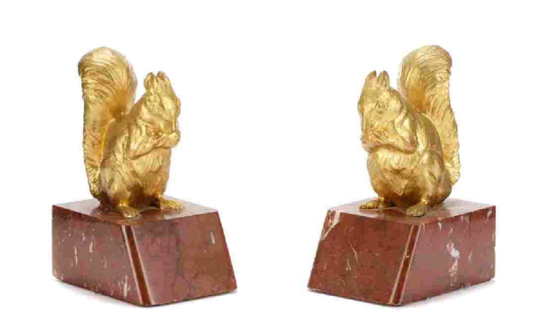 Pair of French Gilt Bronze Squirrel Bookends