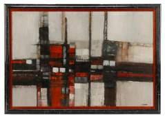 "Paul Chelko, ""Linear Abstraction"", Oil on Board"