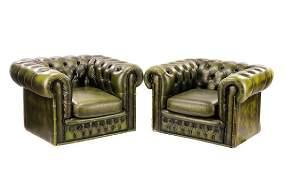 Pair, Green Vinyl MCM Chesterfield Club Chairs