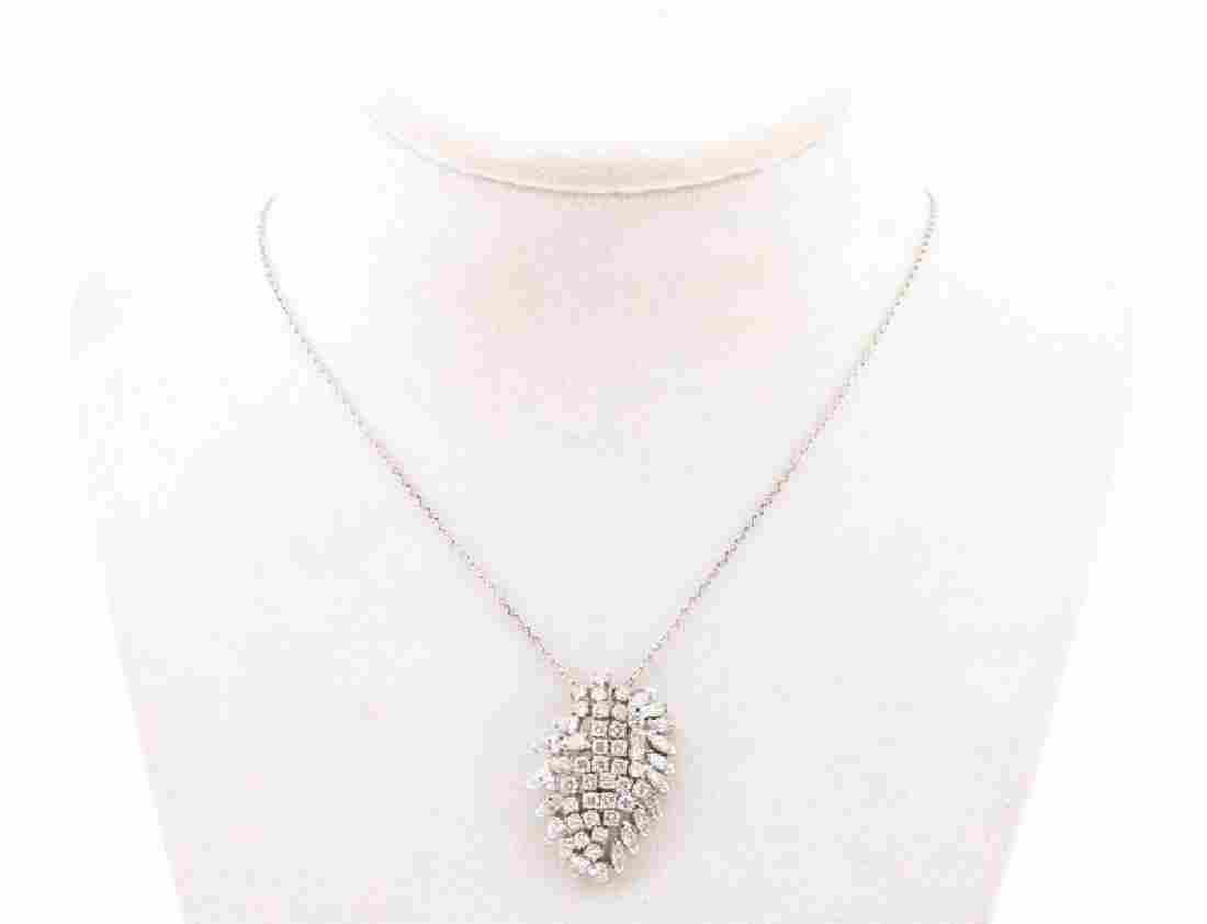 Platinum Necklace with Diamond Cluster Pendant