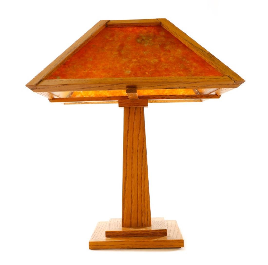 American Mission Oak Table Lamp w/Mica Shade