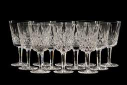 Set of 12 Waterford Crystal Lismore Water Goblets