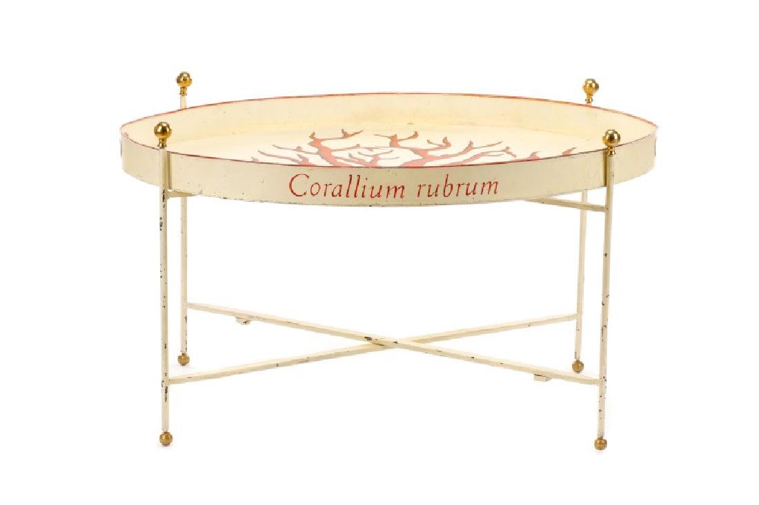 """Tole Peinte Campaign Style """"Coral"""" Tray on Stand"""
