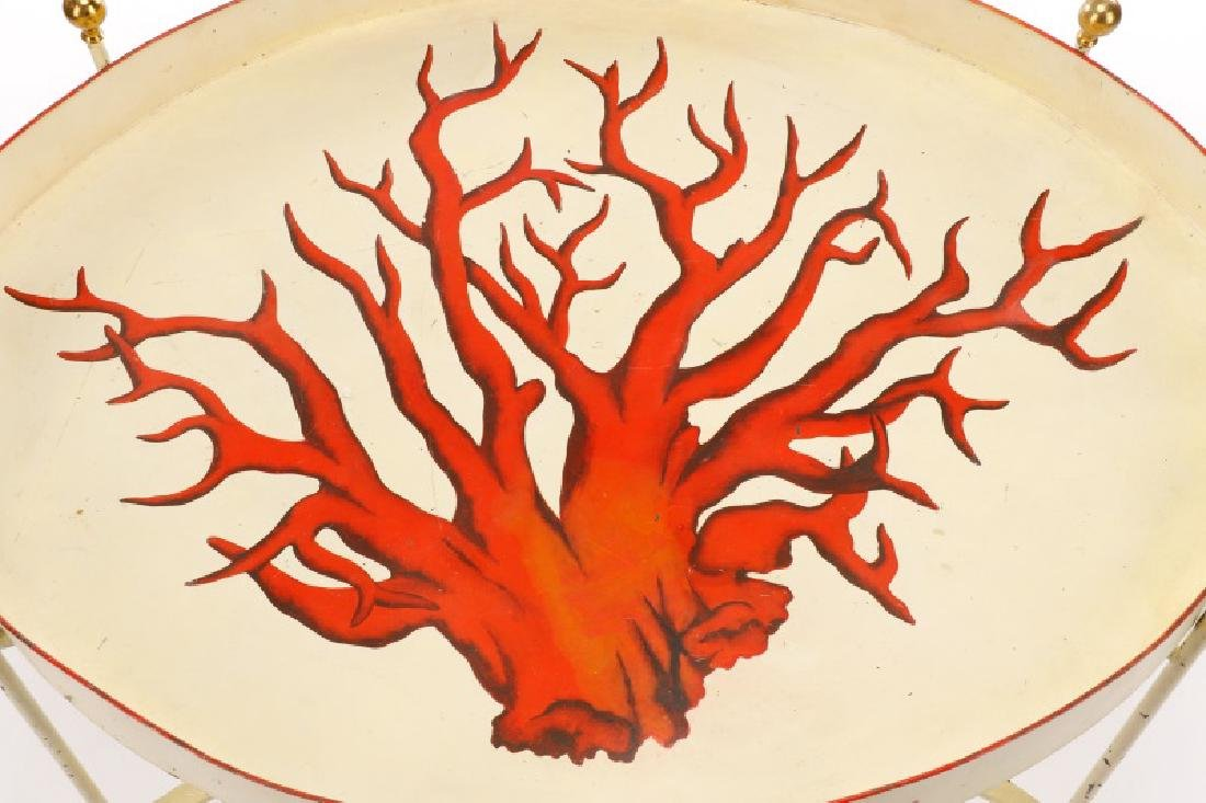 """Tole Peinte Campaign Style """"Coral"""" Tray on Stand - 2"""