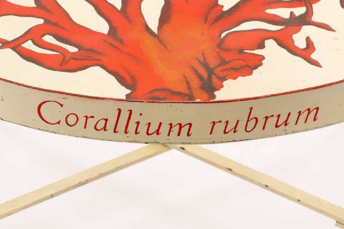 """Tole Peinte Campaign Style """"Coral"""" Tray on Stand - 5"""