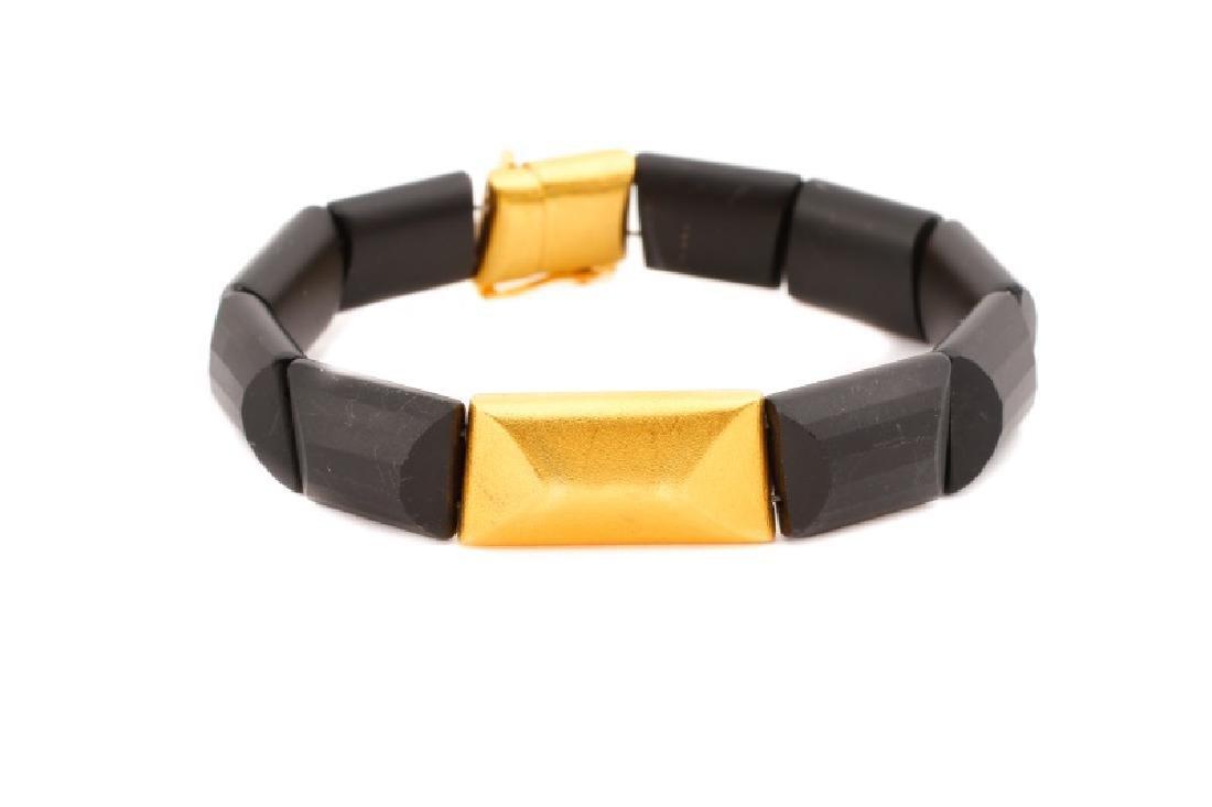 Black Tourmaline & Gold Link Bracelet