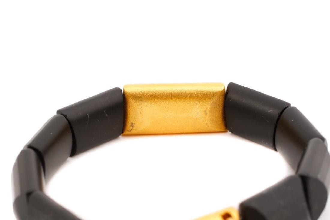 Black Tourmaline & Gold Link Bracelet - 3
