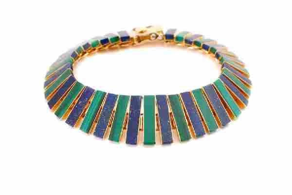 18k Yellow Gold, Lapis Lazuli & Malachite Bracelet