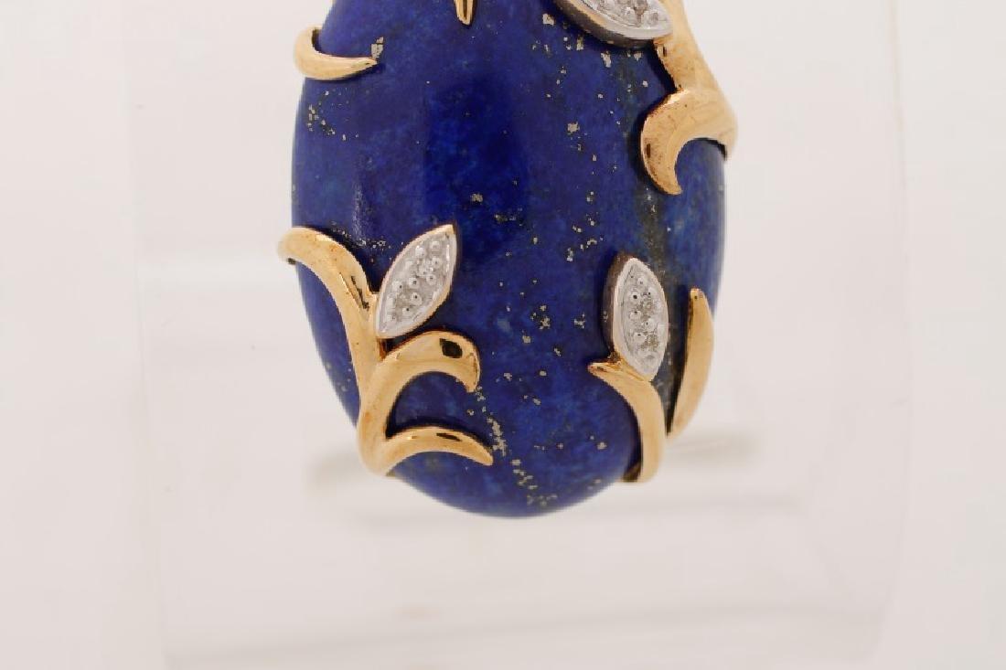 14k Gold, Lapis Lazuli, & Diamond Necklace Pendant - 4