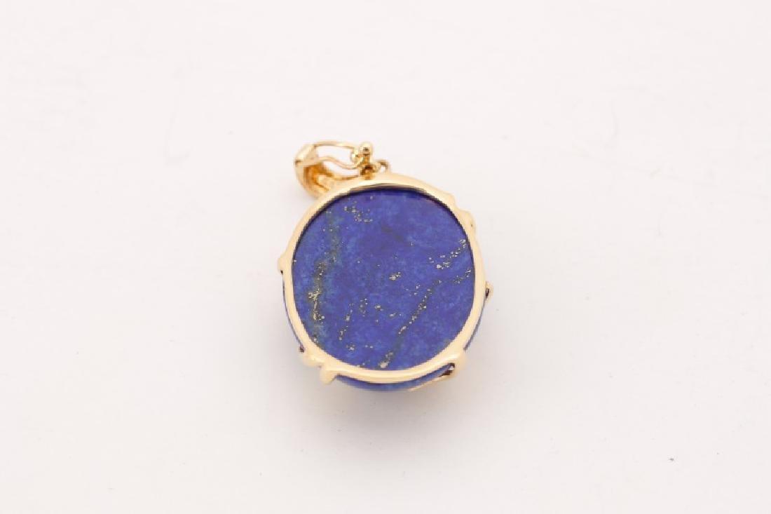 14k Gold, Lapis Lazuli, & Diamond Necklace Pendant - 5