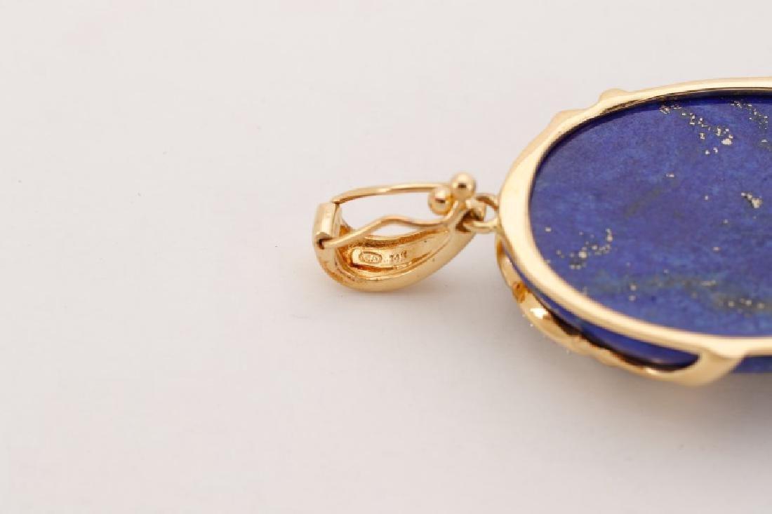 14k Gold, Lapis Lazuli, & Diamond Necklace Pendant - 6