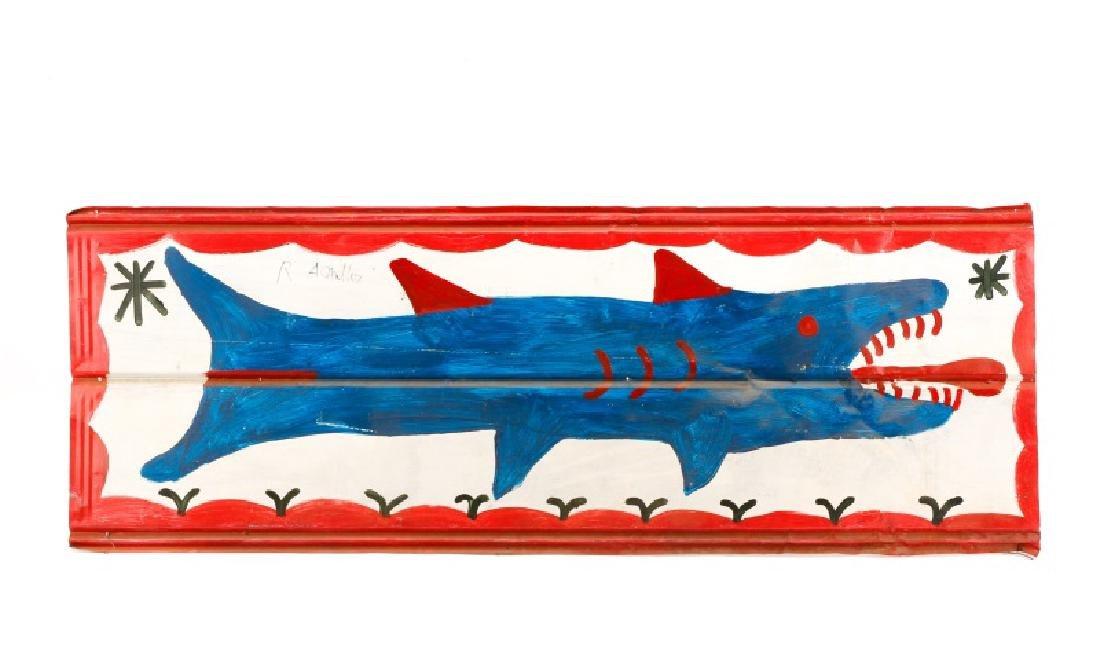 RA Miller Folk Art Painted Shark on Metal