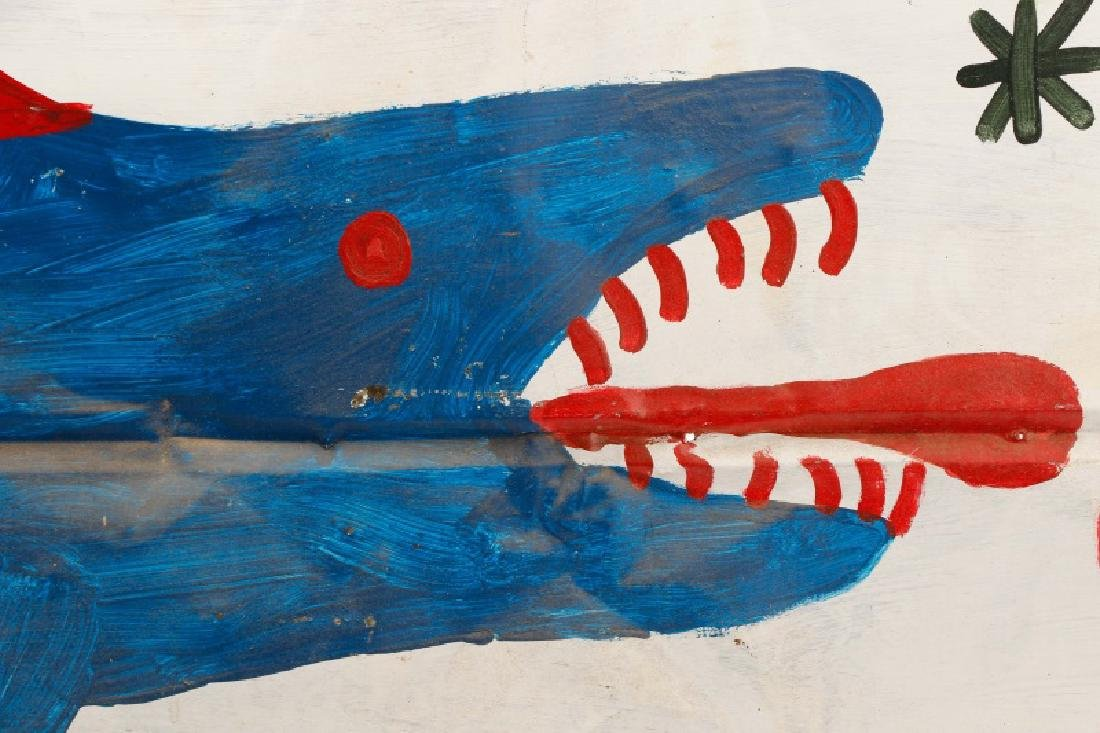 RA Miller Folk Art Painted Shark on Metal - 3