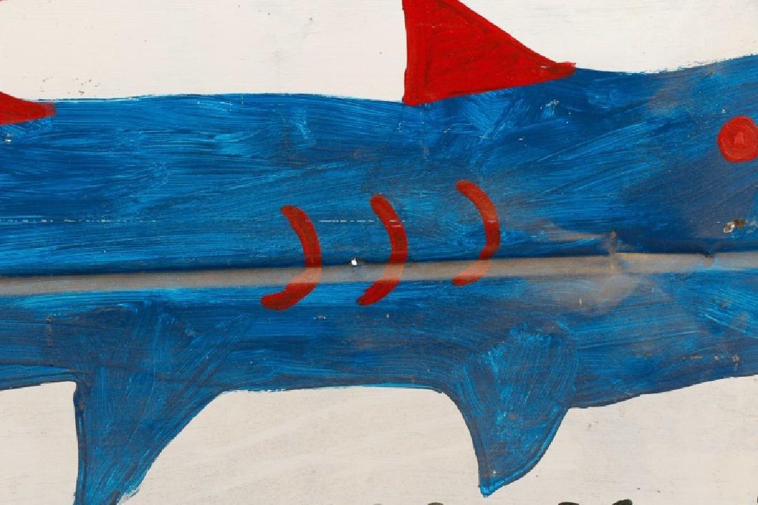 RA Miller Folk Art Painted Shark on Metal - 4